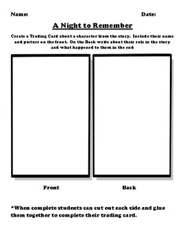 """A Night to Remember"" Trading Card Worksheet"