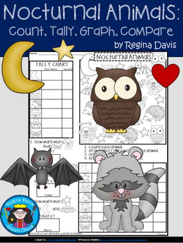 A+ Nocturnal Animals... Count, Tally, Graph, and Compare
