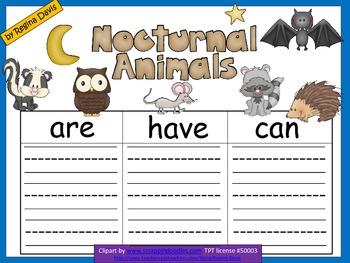 A+  Nocturnal Animals... Three Graphic Organizers