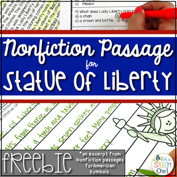 FREEBIE: Nonfiction Passage for Statue of Liberty by The ...