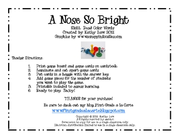 A Nose So Bright--Color Words Game