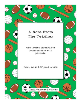 A Note From The Teacher - Sports Theme