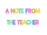 A Note From the Teacher Printable