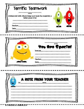 Monster Themed Parent-Teacher Notes (FREE)