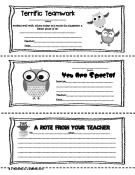 A Note from Your Teacher: Owl Themed Parent-Teacher Notes (FREE)