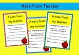 A Note from my Teacher