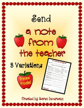 Note Home:  A Note from the Teacher