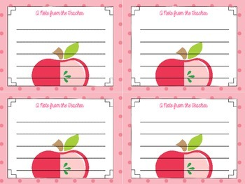 A Note from the Teacher (Apple Themed Stationery)