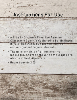 A Note to Students From the Teacher Classroom Decor- Wooden Version