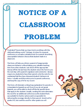 A Notice of a Classroom Problem- Behavior note to parent English/Spanish