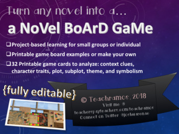 A Novel Board Game-Full Project-Based Learning Unit Plan & Printables-Any Novel
