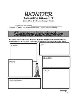 WONDER, by R.J. Palacio: A PDF Novel Study