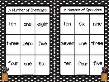A Number Of Speeches:  LOW PREP Martin Luther King, Jr., Number Word Bingo