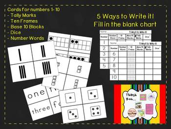 A Number Sort: 1-10 Using Tally Marks, Ten Frames, Dice, Number Words, Base 10
