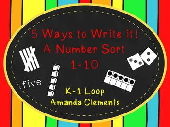 A Number Sort: 1-10 Using Tally Marks, Ten Frames, Dice, Number Words, Base 10