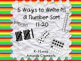 A Number Sort: 11-20 Using Tally Marks, Ten Frames, Dice, Number Words, Base 10