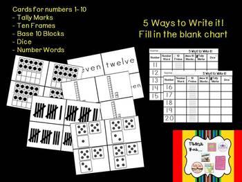 A Number Sort Bundle Using Tally Marks, Ten Frames, Dice, Number Words, Base 10