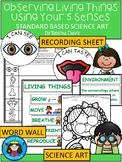 A+ Observing Living Things: Five Senses Science Art, Word Wall, Recording Sheet