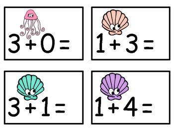 A+  Ocean Animals Addition & Subtraction Fluency Practice Cards # 0-5