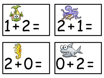 A+  Ocean Animals Addition & Subtraction Fluency Practice Cards # 0-5