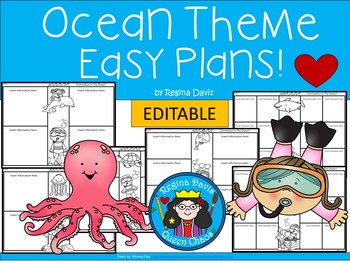A+ Ocean or Sea Theme Easy Plans: Editable Papers