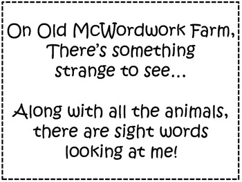 A+  Old McWordwork Farm: Kindergarten Sight Word Story