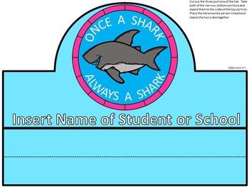 A+ Once A Shark...Always A Shark: *EDITABLE*  Medallion, Bookmark, Hat
