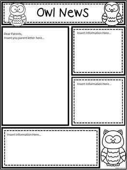 A+ Owl: *EDITABLE* Papers For Teacher News and Notes To Parents