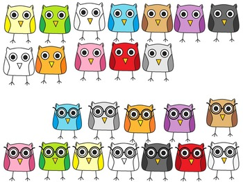A+ Owls: Rainbow Colors Clip Art...Color And Black And White Included