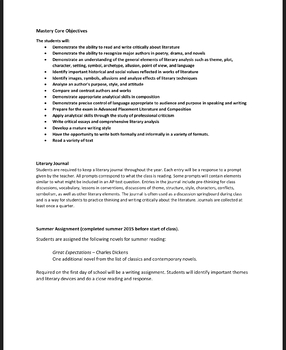 A.P (Advanced Placement) Literature & Composition APPROVED Syllabus EDITABLE