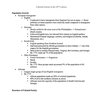 A.P. U.S. History Period 2 Notes and PPT: Colonial Society in the 18th Century
