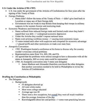 A.P. U.S. History Period 3 Notes and PPT: The Constitution and the New Republic