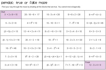 PEMDAS: True or False Maze!