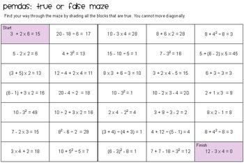 PEMDAS: True or False Maze!
