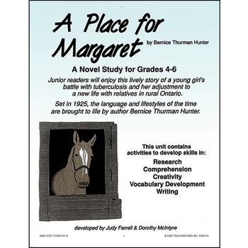 A PLACE FOR MARGARET NOVEL STUDY Gr. 4-6