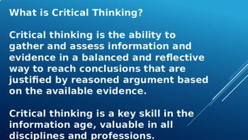CRITICAL THINKING: PRESENTATION