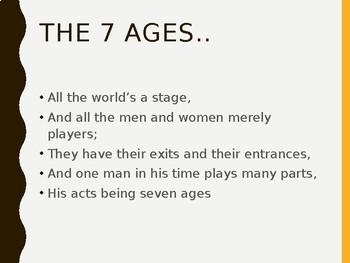 A PRESENTATION ON THE SEVEN AGES OF MAN BY SHAKESPEARE