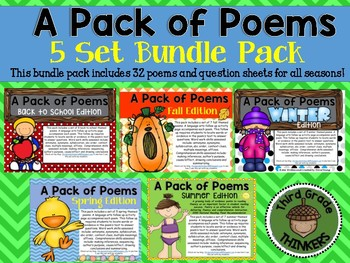 A Pack of Poems Bundle Set with Question Sheets: 4 Seasons