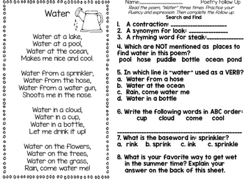 A Pack of Poems: Poetry Journal Summer Poems and Activity Sheets