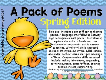 A Pack of Poems:Poetry and Comprehension Questions: Spring Edition