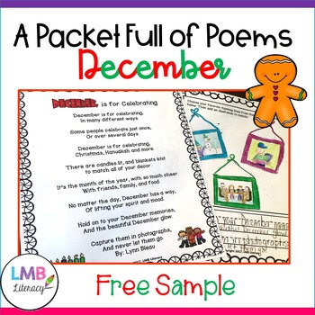 FREE December Activities-Monthly Poetry Comprehension or Poetry Centers