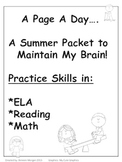 A Summer Packet to Maintain my Brain....A Page a Day
