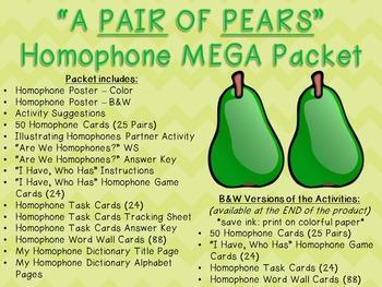 """A Pair of Pears"" Homophone MEGA Packet"