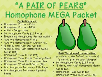 """A Pair of Pears"" Homophone MEGA Packet"