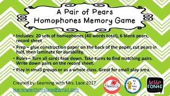 A Pair of Pears Homophone Memory Game (small game pieces)