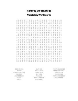 A Pair of Silk Stockings Vocabulary Word Search - Chopin