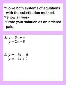 A Pair of Systems of Equations