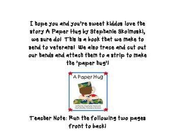 A Paper Hug Card & Poem for Veterans FREEBIE