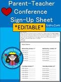 A+ Parent Teacher Conference Schedule *Editable*