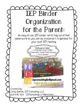 A Parent's IEP Binder Organization Set